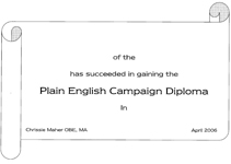 Plain English Diploma certificate